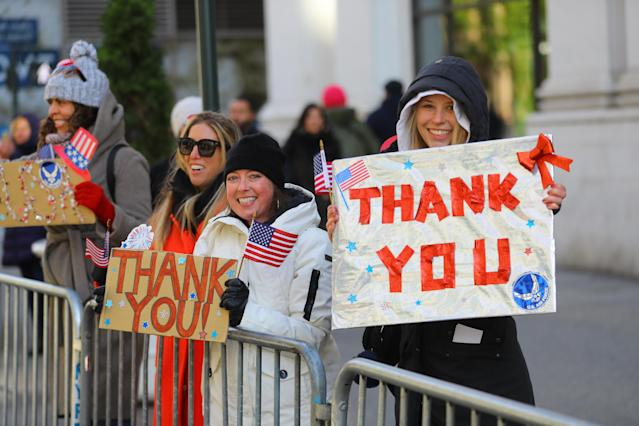 "<p>A group of women hold up signs saying ""Thank You— during the Veterans Day parade on Fifth Avenue in New York on Nov. 11, 2017. (Photo: Gordon Donovan/Yahoo News) </p>"