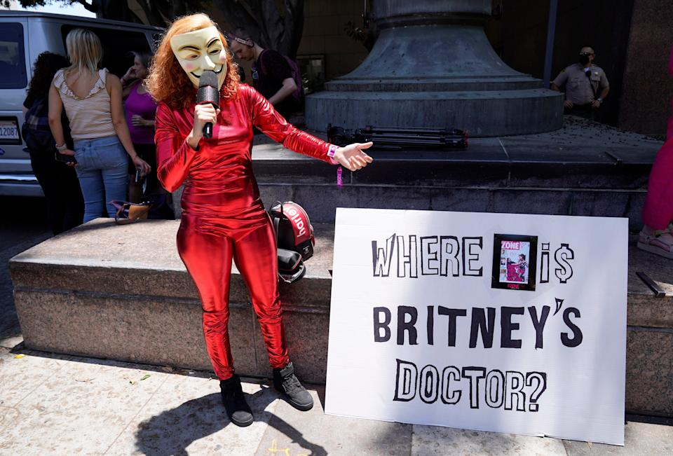 Britney Spears supporters protested outside court in Los Angeles (AP)