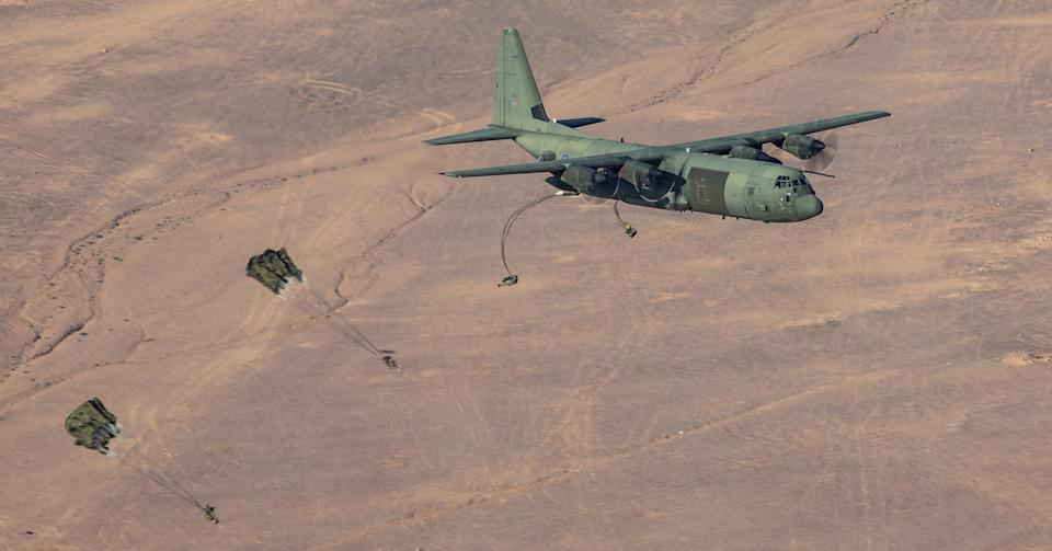 A sortie during the exercises included dispatching between 70 and 80 paratroopers from two separate Hercules aircraft (� UK MoD Crown Copyright 2021)