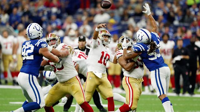 <p>The 49ers rallied in the fourth quarter, but it wasn't enough to make a comeback after falling to the Colts in Indianapolis.</p>