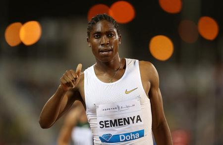 Athletics - Diamond League - Doha - Qatar Sports Club, Doha, Qatar - May 4, 2018 South Africa's Caster Semenya celebrates after winning the women's 1500m REUTERS/Ibraheem Al Omari
