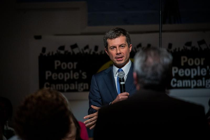 South Bend, Indiana mayor and Democratic presidential candidate, Pete Buttigieg, takes part in a discussion about how to address poor America during a Sunday morning service at Greenleaf Christian Church in Goldsboro, North Carolina on December 1, 2019. (Photo by Logan Cyrus / AFP) (Photo by LOGAN CYRUS/AFP via Getty Images)