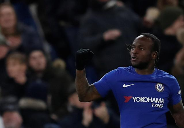 "Soccer Football - Premier League - Chelsea vs West Bromwich Albion - Stamford Bridge, London, Britain - February 12, 2018 Chelsea's Victor Moses celebrates scoring their second goal REUTERS/Eddie Keogh EDITORIAL USE ONLY. No use with unauthorized audio, video, data, fixture lists, club/league logos or ""live"" services. Online in-match use limited to 75 images, no video emulation. No use in betting, games or single club/league/player publications. Please contact your account representative for further details."