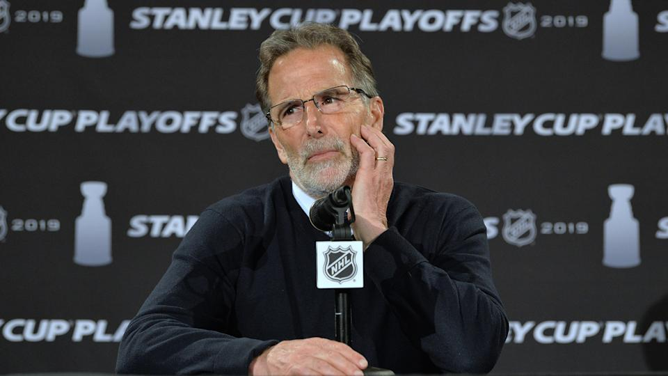 COLUMBUS, OH - APRIL 14:  Head Coach John Tortorella of the Columbus Blue Jackets talks to the media after Game Three of the Eastern Conference First Round during the 2019 NHL Stanley Cup Playoffs on April 14, 2019 at Nationwide Arena in Columbus, Ohio.  (Photo by Jamie Sabau/NHLI via Getty Images)