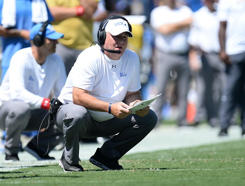 UCLA Bruins head coach Chip Kelly watches game action against the San Diego State Aztecs during the first half at the Rose Bowl. (USAT)