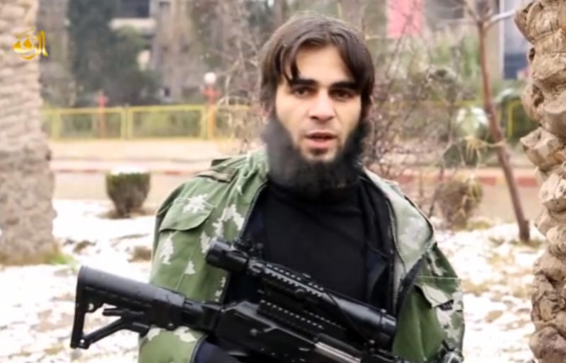 A screen shot taken on January 23, 2015 from an Islamic State group online video shows a young man presented as Youssoup Nassoulkhanov, a Russian from the Chechen region