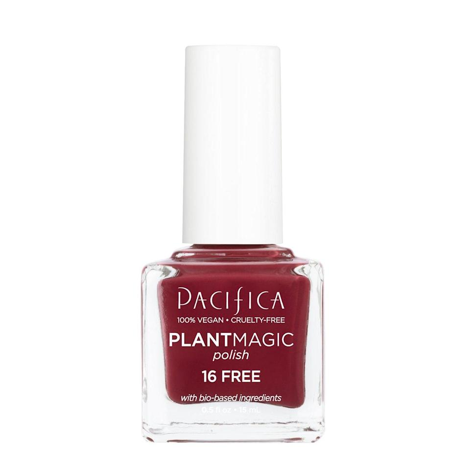 Made with 80 percent bio-sourced ingredients — think algae and diatomaceous earth — Pacifica Plant Magic Polish really does seem like magic when you consider how long it holds in place without a base or top coat. And you'll definitely want the gorgeous Hope Ranch shade to hang on as long as possible. Burgundies are always in style, but there's just something extra-special about this earthy, soft take on a classic dark red.