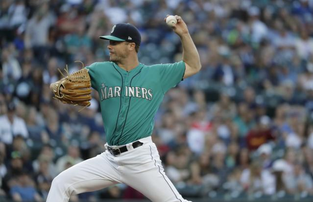 Seattle Mariners starting pitcher Wade LeBlanc throws against the Chicago White Sox during a baseball game, Friday, July 20, 2018, in Seattle. (AP Photo/Ted S. Warren)