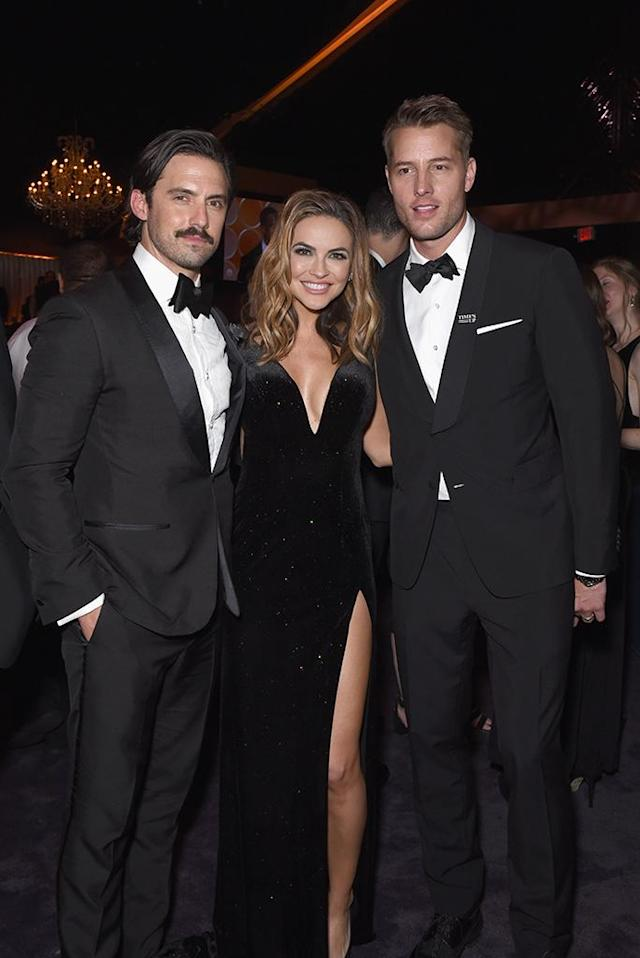 <p>Milo Ventimiglia hung out with Justin Hartley and Chrishell Stause at the Fox, FX, and Hulu party. (Photo: Presley Ann/Getty Images) </p>