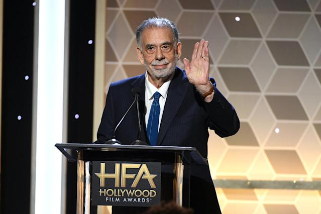BEVERLY HILLS, CALIFORNIA - NOVEMBER 03: Francis Ford Coppola presents the Hollywood Supporting Actor Award onstage during the 23rd Annual Hollywood Film Awards at The Beverly Hilton Hotel on November 03, 2019 in Beverly Hills, California. (Photo by Kevin Winter/Getty Images for HFA)