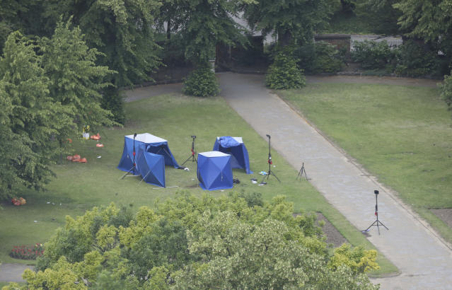 An aerial view showing police tents in Forbury Gardens at the scene. (PA)