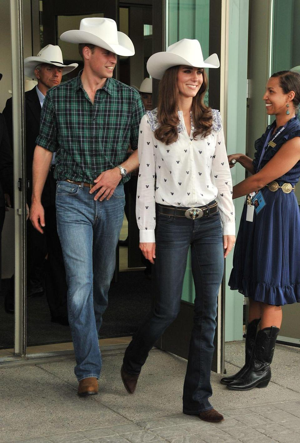<p>We love a vintage K-Mid look, and this has to be one of the best. On a visit to Canada in 2011, the Duke and Duchess of Cambridge wore some very Wild West getups to watch the Calgary Stampede. Remember low rise jeans? And those hats? Yeehaw, y'all.</p>