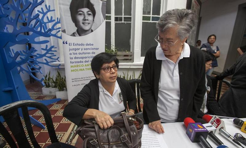 Emma Guadalupe Molina Theissen left, and her mother Emma at a press conference in Guatemala City on 25 May.