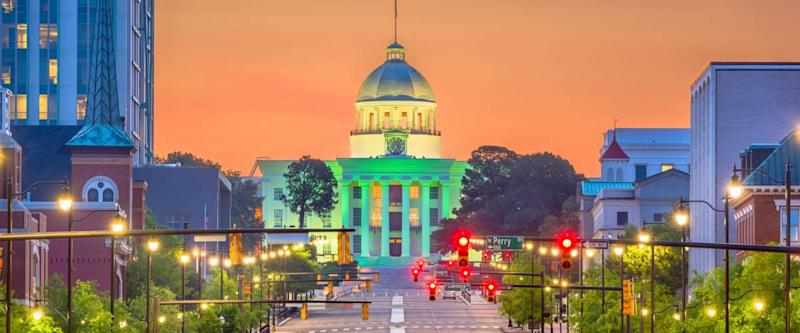 Montgomery, Alabama, USA with the State Capitol at dawn.