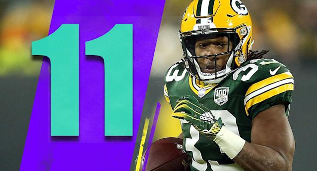 <p>Having Aaron Jones (145 rushing yards, two touchdowns) becoming a serious difference maker in the offense can only help the Packers during a tough upcoming stretch. (Aaron Jones) </p>