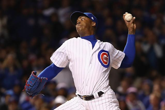 Aroldis Chapman came on in the seventh inning to try to hold the Cubs' one-run lead. (Getty)