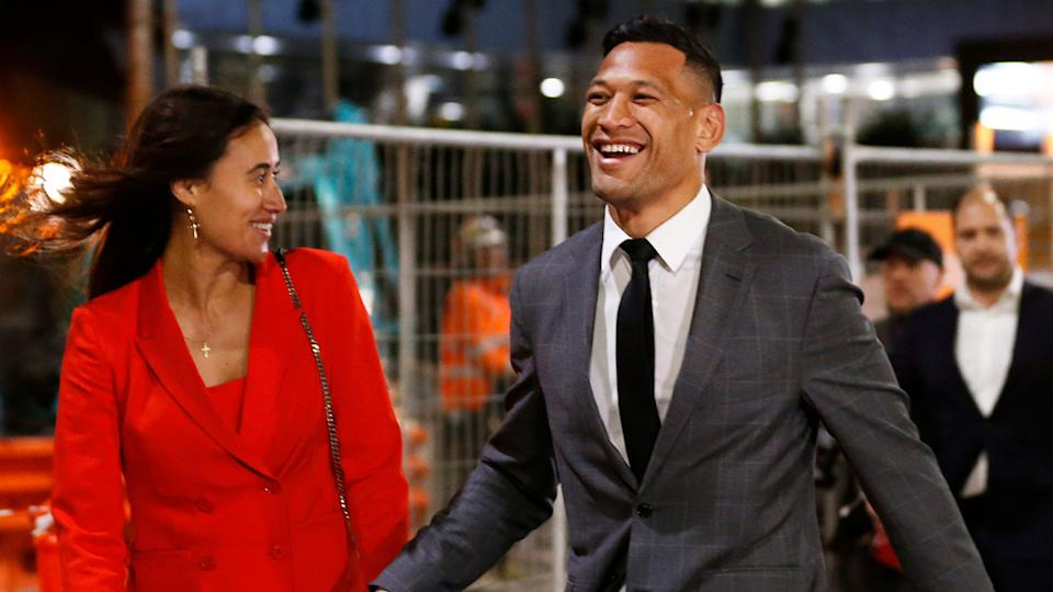 Pictured here, Israel Folau finally reached a settlement with Rugby Australia.