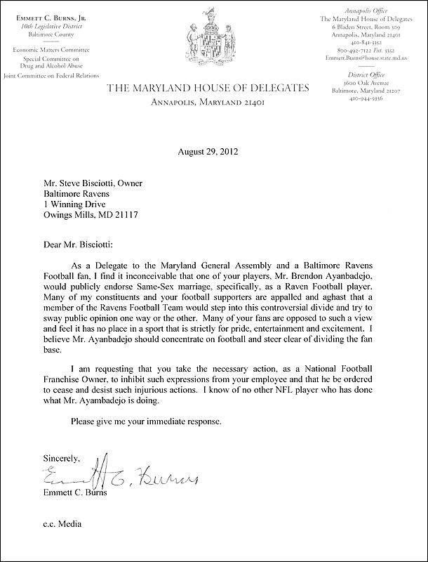 Maryland Politician S Letter Denouncing Brendon Ayanbadejo S Support