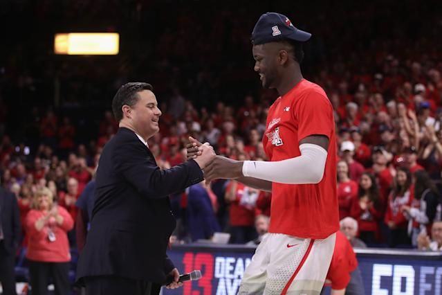 Arizona head coach Sean Miller is accused on an FBI wiretap of paying Deandre Ayton. (Getty Images)