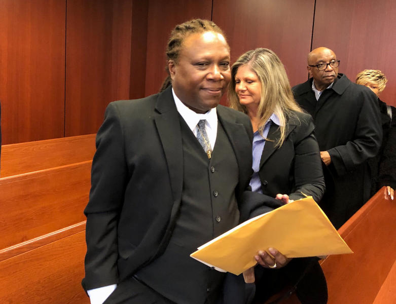Aretha Franklin's son Ted White leaves a courtroom in Pontiac, Mich., Tuesday, March 3, 2020. A judge accepted the resignation of Sabrina Owens, Franklin's niece, as personal representative, or executor, of the late singer's estate but declined to appoint White as an interim replacement. (AP Photo/Ed White)
