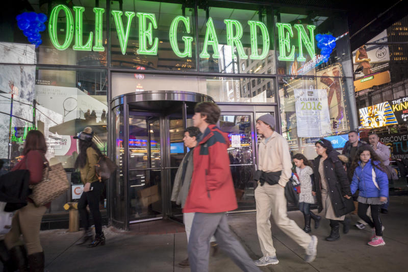 An Olive Garden restaurant in Times Square in New York is seen on Tuesday, December 22, 2015. (�� Richard B. Levine) (Photo by Richard Levine/Corbis via Getty Images)