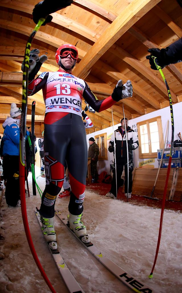Bode Miller, of the United States, warms up prior to the start of an alpine ski, men's World Cup downhill training, in Wengen, Switzerland, Thursday, Jan. 16, 2014. (AP Photo/Alessandro Trovati)