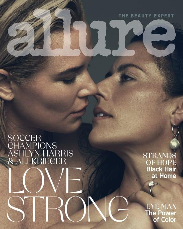 "Ali Krieger and Ashlyn Harris on the August 2020 cover of ""Allure."""