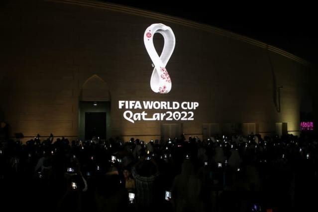 The tournament's official logo for the 2022 Qatar World Cup is seen on the wall of an amphitheater, in Doha