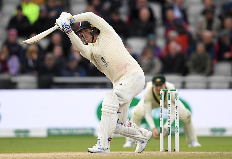 Jason Roy of England drives to the boundary. (Credit: Getty Images)