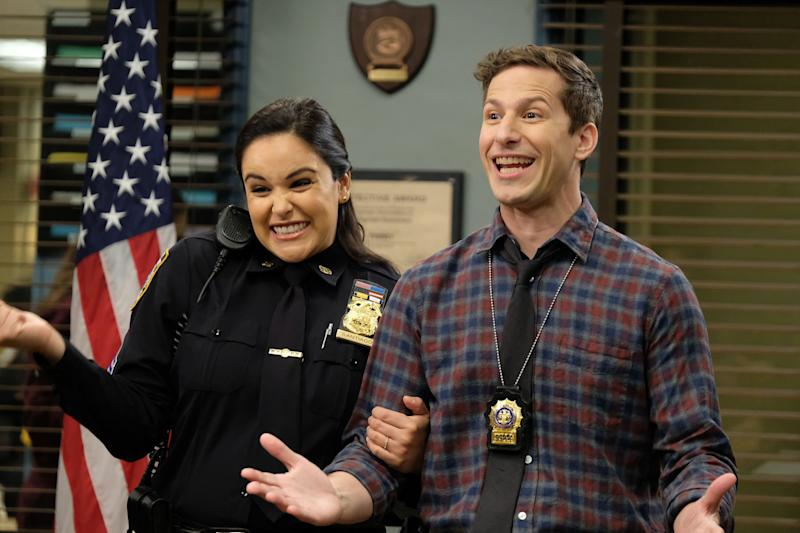 "Melissa Fumero as Amy Santiago and Andy Samberg as Jake Peralta in season 7, episode 10 of ""Brooklyn Nine-Nine."" (Photo: NBC via Getty Images)"