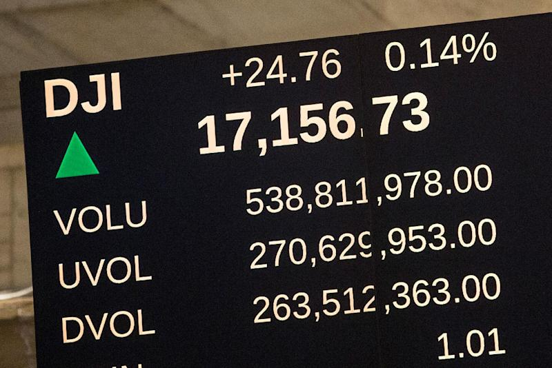 A reader board shows the Dow Jones Industrial Average at an all time high on the floor of the New York Stock Exchange on September 17, 2014 (AFP Photo/Andrew Burton)