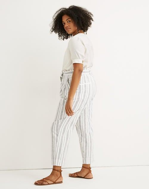 "<p>The tie waist on these <a href=""https://www.popsugar.com/buy/Madewell-Linen-Cotton-Paperbag-Pants-574395?p_name=Madewell%20Linen-Cotton%20Paperbag%20Pants&retailer=madewell.com&pid=574395&price=90&evar1=fab%3Aus&evar9=47477665&evar98=https%3A%2F%2Fwww.popsugar.com%2Ffashion%2Fphoto-gallery%2F47477665%2Fimage%2F47478130%2FMadewell-Linen-Cotton-Paperbag-Pants&list1=pants%2Ctrousers%2Cfashion%20shopping%2Ccomfortable%20clothes&prop13=mobile&pdata=1"" class=""link rapid-noclick-resp"" rel=""nofollow noopener"" target=""_blank"" data-ylk=""slk:Madewell Linen-Cotton Paperbag Pants"">Madewell Linen-Cotton Paperbag Pants</a> ($90) makes them a flattering choice.</p>"