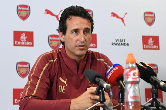 Arsenal Head Coach Unia Emery attends a press conference.
