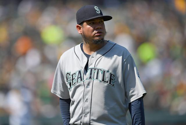"<a class=""link rapid-noclick-resp"" href=""/mlb/players/7487/"" data-ylk=""slk:Felix Hernandez"">Felix Hernandez</a> will not be the <a class=""link rapid-noclick-resp"" href=""/mlb/teams/seattle/"" data-ylk=""slk:Seattle Mariners"">Seattle Mariners</a> opening day starter for the first time since 2008 (Photo by Thearon W. Henderson/Getty Images)"