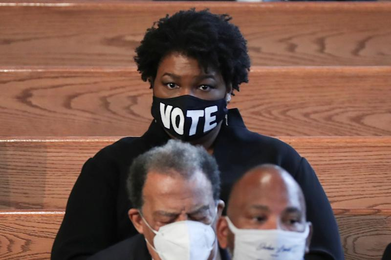Stacey Abrams, Democratic activist and founder of Fair Fight, a voting rights group, at the funeral of civil rights hero John Lewis in Atlanta, Georgia: via REUTERS
