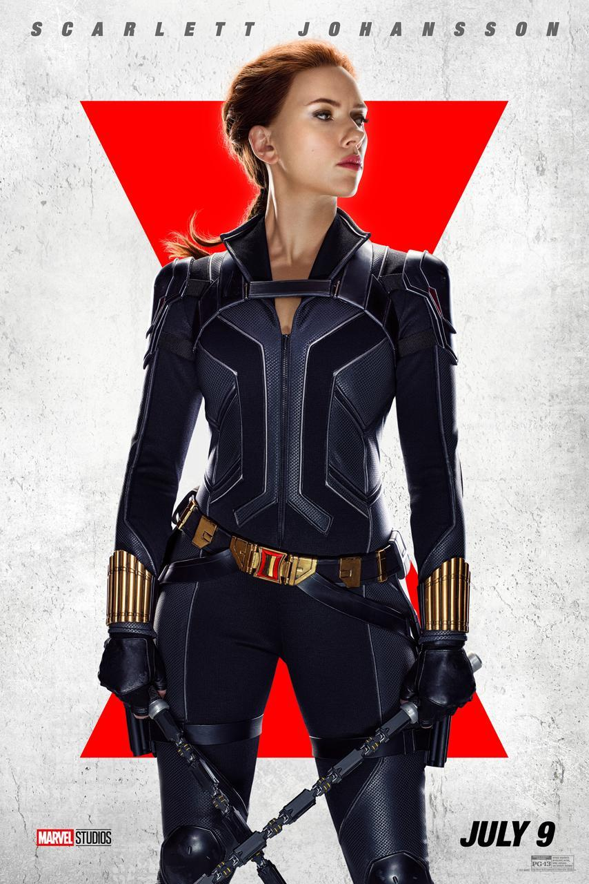 Scarlett Johansson suits up as Natasha Romanoff in Black Widow's black suit, with staff weapons.