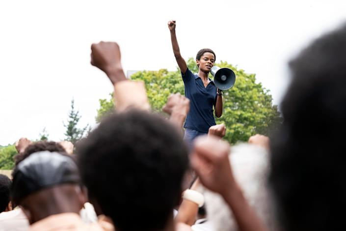 """Letitia Wright (""""Black Panther"""") stars in """"Mangrove,"""" one of three Steve McQueen films premiering at this year's virtual New York Film Festival."""