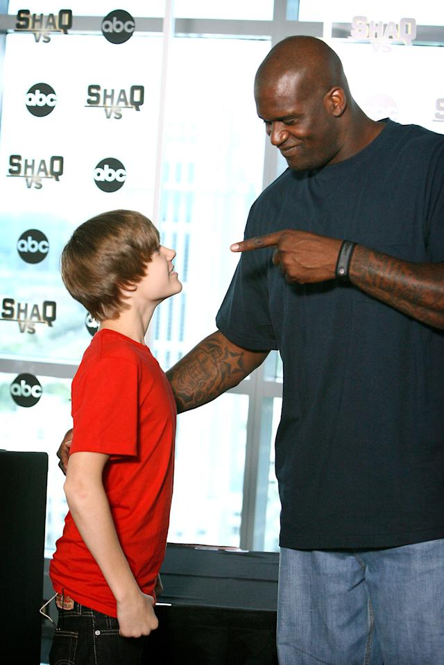 Justin Bieber and Shaquille O'Neal (Photo: Jacob Langston/Orlando Sentinel/MCT)
