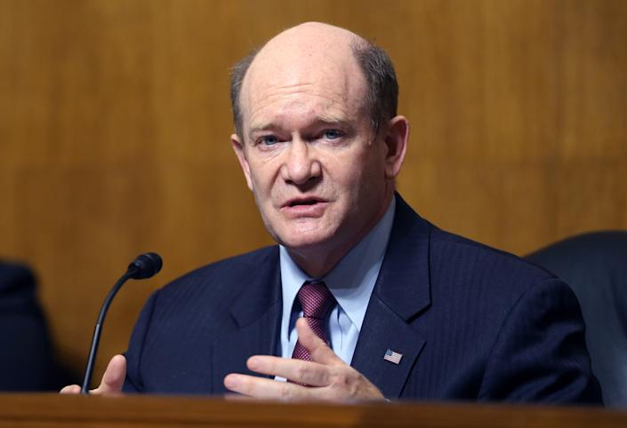 Chairman Sen. Christopher Coons (D-DE) makes his opening statement during a hearing of the Senate Judiciary Subcommittee on Privacy, Technology, and the Law, at the U.S. Capitol on April 27, 2021 in Washington, DC. (Tasos Katopodis-Pool/Getty Images)