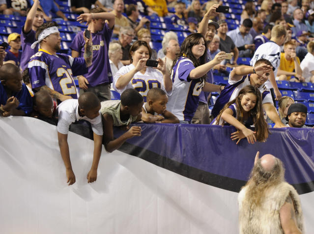 <p>Ragnar, mascot for the Minnesota Vikings performs during the second half of the game against the Tennessee Titans on August 29, 2013 at Mall of America Field at the Hubert H. Humphrey Metrodome in Minneapolis, Minnesota. (Photo by Hannah Foslien/Getty Images) </p>