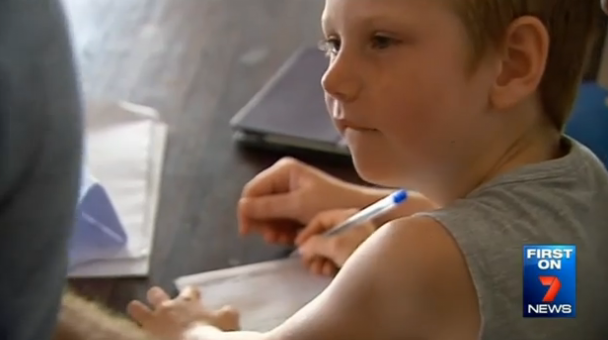 Eight-year-old Sonny Jarvis goes to the same Hervey Bay special school accused of locking another autistic boy in a small 'time out' room.  Photo: 7 News