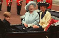 The Queen Mother with Princess Diana and Prince Harry during the carriage procession. (PA Images)