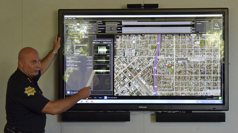 In this July 6, 2015 photo, Fresno Police Chief Jerry Dyer introduces the ShotSpotter gunshot detection system during a press conference at police headquarters in Fresno, Calif. Dyer credited the technology Wednesday, April 19, 2017, with the swift capture of Kori Ali Muhammad, a 39-year-old black man who authorities say killed three people Tuesday in a bid to wipe out as many whites as possible. (Silvia Flores/The Fresno Bee via AP)
