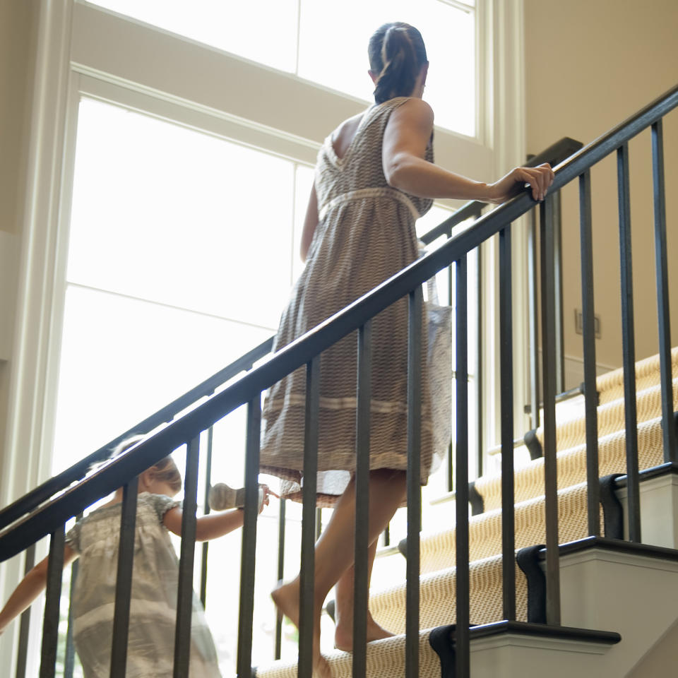 <p>Here's a thought: Take a 10-minute break from your busy day of present wrapping or online shopping to walk up and down the stairs in your house or apartment—you'll say goodbye to about 100 calories, says Donavanik. You'll also feel less tense and cramped up. Want to maximize your calorie burning potential? Run up and down those stairs instead and you'll zap the same number of calories in half the time.</p>