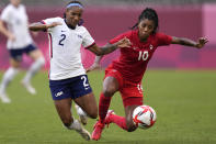 United States' Crystal Dunn, left, and Canada's Ashley Lawrence battle for the ball during a women's semifinal soccer match at the 2020 Summer Olympics, Monday, Aug. 2, 2021, in Kashima, Japan. (AP Photo/Andre Penner)