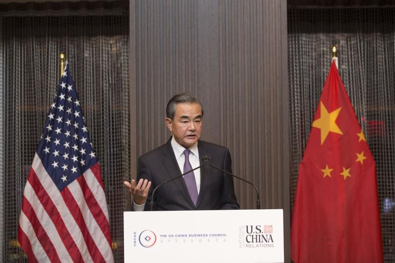 NEW YORK, NY - SEPTEMBER 24: Chinese Foreign Minister Wang Yi makes speech at a dinner co-hosted by the National Committee on U.S.-China Relations, U.S.-China Business Council and the U.S. Chamber of Commerce and Council on the sidelines of the 74th Session of the United Nations General Assembly on September 24, 2019 in New York, United States. (Photo by Liao Pan/China News Service/VCG via Getty Images)