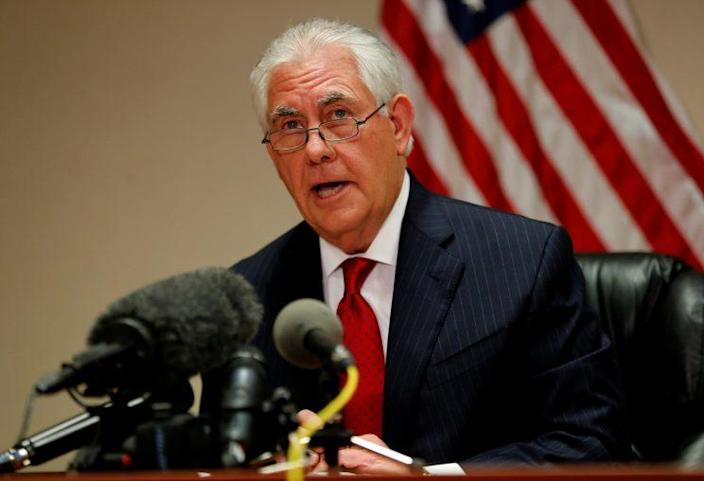 Tillerson speaks to reporters at Palm Beach International Airport in West Palm Beach, Fla., on Thursday. (Joe Skipper/Reuters)