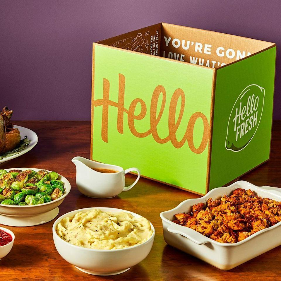 """<p><strong>HelloFresh</strong></p><p>hellofresh.com</p><p><strong>$159.99</strong></p><p><a href=""""https://go.redirectingat.com?id=74968X1596630&url=https%3A%2F%2Fwww.hellofresh.com%2Fpages%2Fseasonal%2Fthanksgiving-box&sref=https%3A%2F%2Fwww.bestproducts.com%2Feats%2Ffood%2Fg34524875%2Fthanksgiving-dinner-delivery-services%2F"""" rel=""""nofollow noopener"""" target=""""_blank"""" data-ylk=""""slk:Shop Now"""" class=""""link rapid-noclick-resp"""">Shop Now</a></p><p>Popular <a href=""""https://www.bestproducts.com/eats/food/a14585712/reviews-home-meal-delivery-services/"""" rel=""""nofollow noopener"""" target=""""_blank"""" data-ylk=""""slk:meal-delivery service"""" class=""""link rapid-noclick-resp"""">meal-delivery service</a> HelloFresh is bringing back its beloved, no-subscription-required Thanksgiving Feast this year. Available for preorder now with delivery beginning November 17, this box is available in two variations: Turkey & Sides ($159.99 + shipping) or Beef Tenderloin & Sides ($134.99 + shipping). </p><p>The turkey option serves 8-10 guests, while the beef option serves 4-6 guests. Both Thanksgiving boxes include all the fresh ingredients, easy-to-follow recipes, and a helpful meal-prep guide to pull off the best Thanksgiving dinner delivered straight to your doorstep!<br></p><p><strong>More:</strong> <a href=""""https://www.bestproducts.com/eats/tabletop/g2092/thanksgiving-table-tablescape-ideas/"""" rel=""""nofollow noopener"""" target=""""_blank"""" data-ylk=""""slk:30 Thanksgiving Table Ideas for Your Home Feast"""" class=""""link rapid-noclick-resp"""">30 Thanksgiving Table Ideas for Your Home Feast</a><br></p>"""