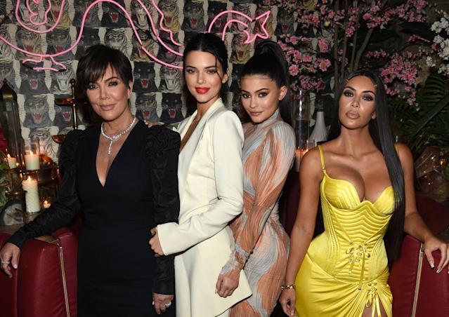 Kris Jenner, with daughters Kendall and Kylie Jenner and Kim Kardashian, at an event about the business of fashion on May 8 in New York City. (Photo: Dimitrios Kambouris/Getty Images for the Business of Fashion)