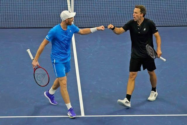 Jamie Murray, left, and Bruno Soares are into the US Open men's doubles final (Seth Wenig/AP/PA)